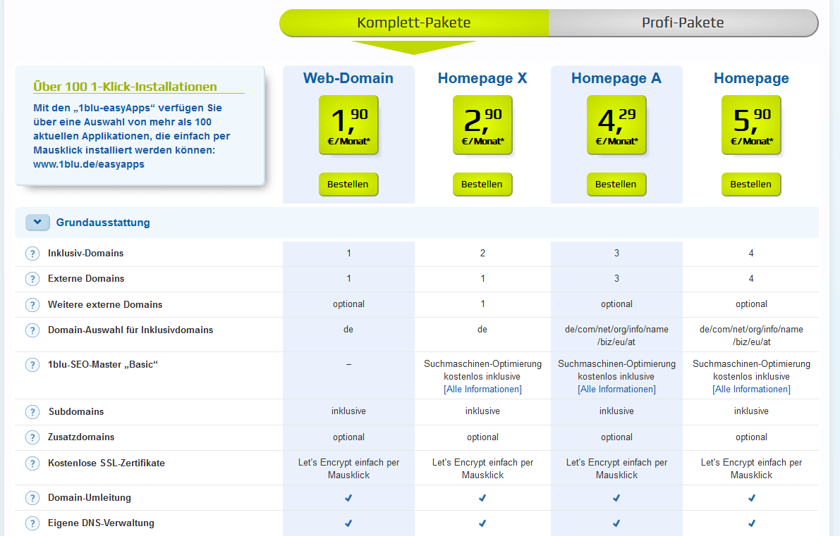 1blu webhosting Preise und Kosten
