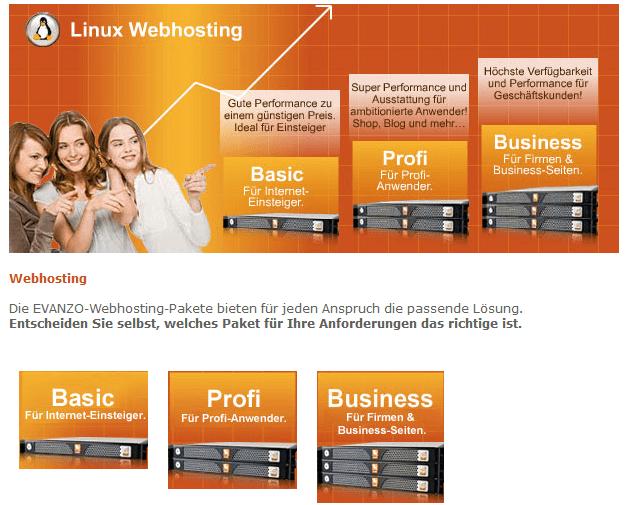 evanzo webhosting preise kosten