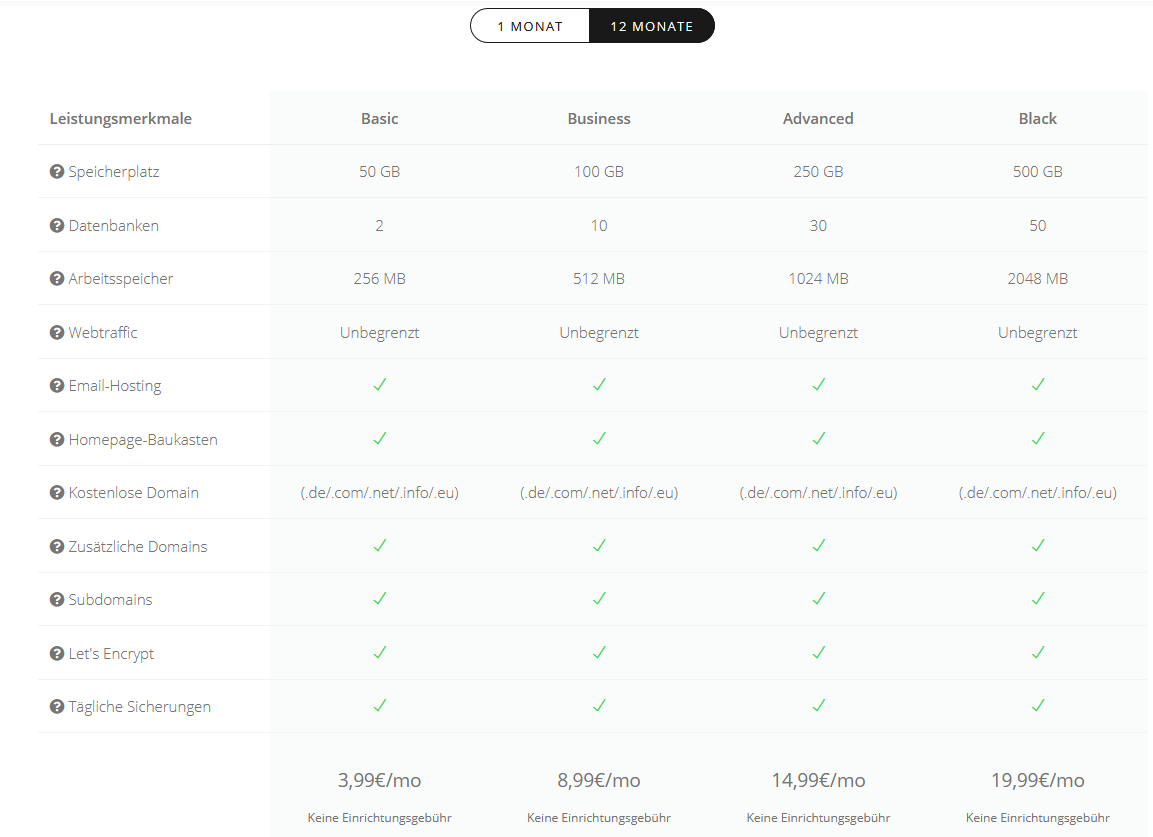 linevast webhosting preise kosten